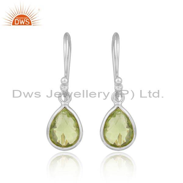 Handcrafted Sterling Silver Drop Dangle with Peridot