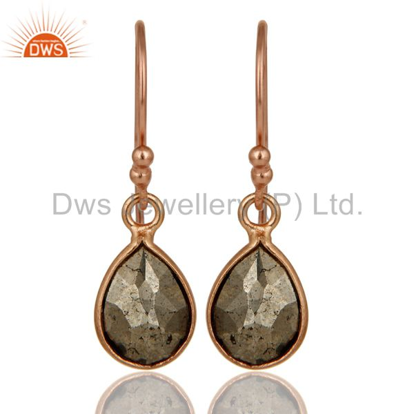 18K Rose Gold Plated Sterling Silver Pyrite Bezel Set Teardrop Earrings