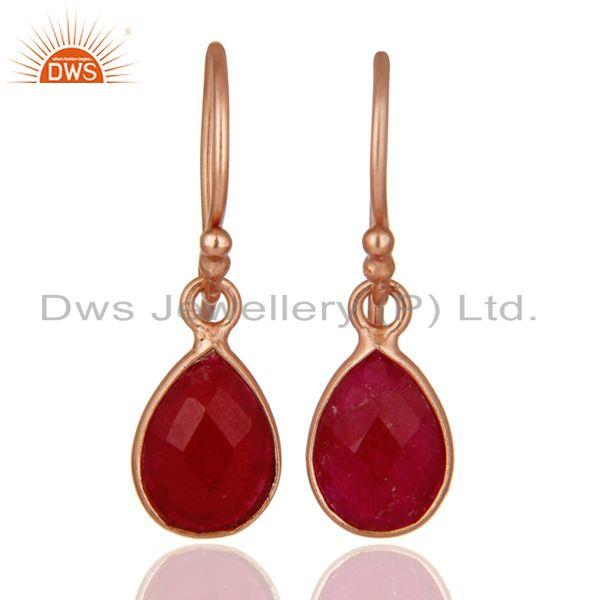 18K Rose Gold Plated Sterling Silver Dyed Ruby Gemstone Bezel Teardrop Earrings