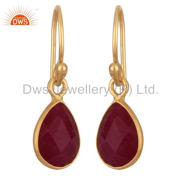 18K Yellow Gold Plated Silver Dyed Ruby Gemstone Bezel Set Teardrop Earrings