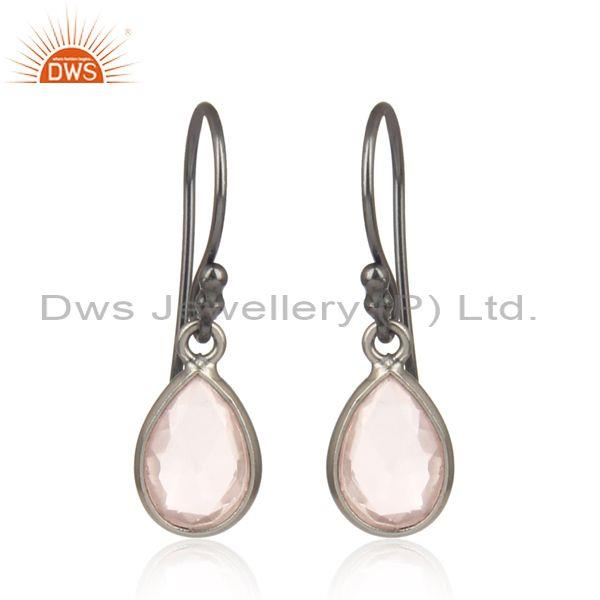 Rose Quartz Set Black Rhodium on Silver Drop Dangler Earring