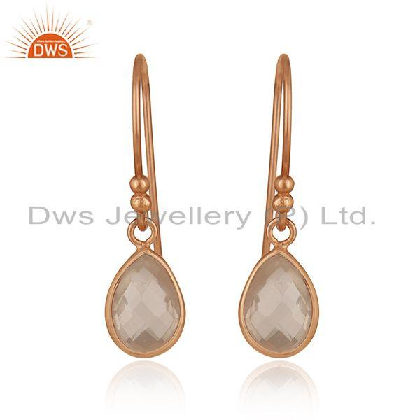 Handmade Rose Gold Plated 925 Silver Quartz Gemstone Earring Wholesale