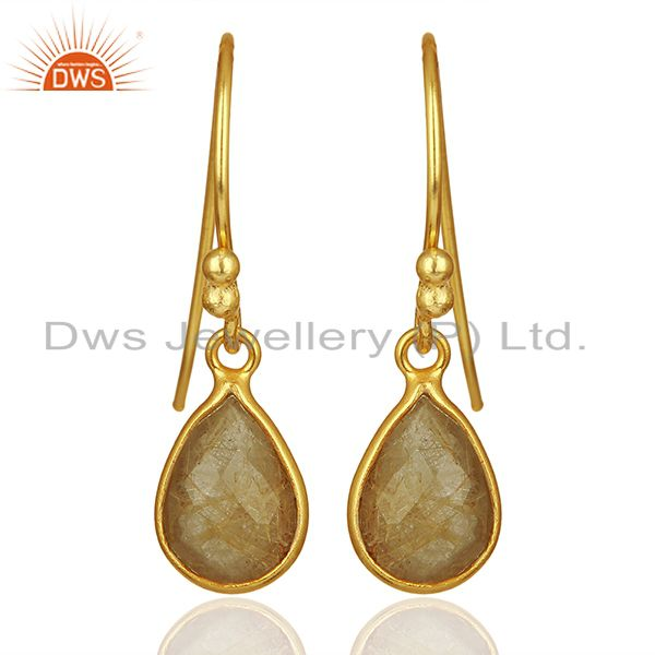 Golden Rutile Gemstone Gold Plated 925 Silver Drop Earrings Jewelry