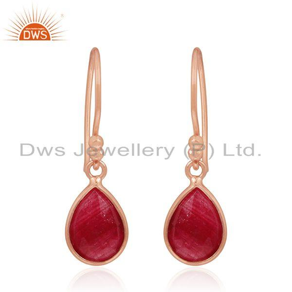 Rose Gold Plated 925 Silver Ruby Corundum Gemstone Drop Earrings Manufacturers