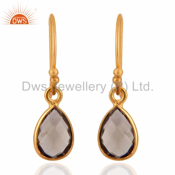 18K Yellow Gold Plated Sterling Silver Smoky Quartz Gemstone Dangle Earrings