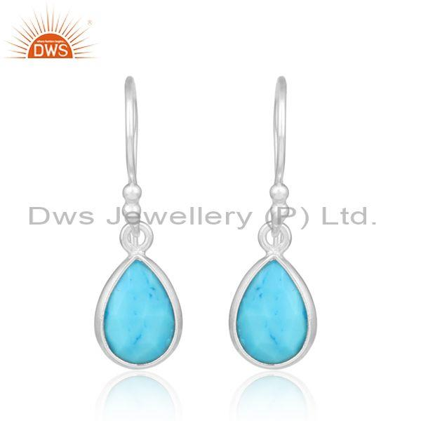 Turquoise Cultured Set Fine Silver Tear Drop Dangle Earring