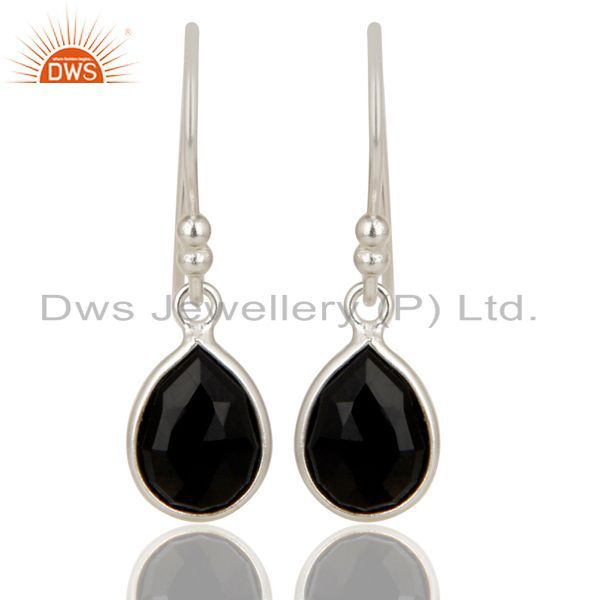 Solid 925 Silver Faceted Black Onyx Gemstone Bezel Set Teardrop Earrings