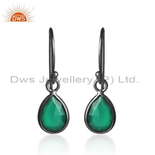 Green Onyx Set Black On 925 Silver Tear Drop Casual Earrings