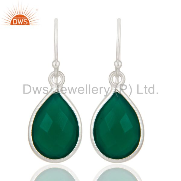925 Sterling Silver Green Onyx Gemstone Bezel Set Drop Earrings