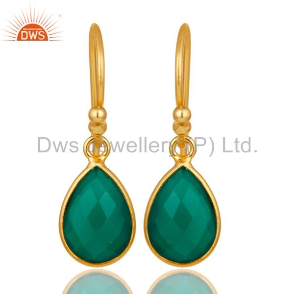 18K Yellow Gold Plated Sterling Silver Green Onyx Gemstone Dangle Earrings