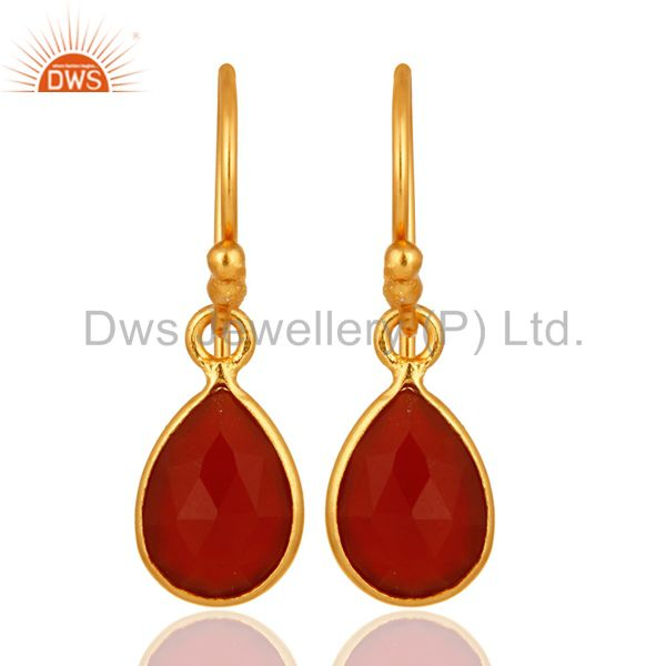 18K Yellow Gold Plated Sterling Silver Red Onyx Gemstone Dangle Earrings
