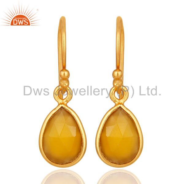Yellow Chalcedony Gemstone Drop Earrings In 18K Gold Over Sterling Silver
