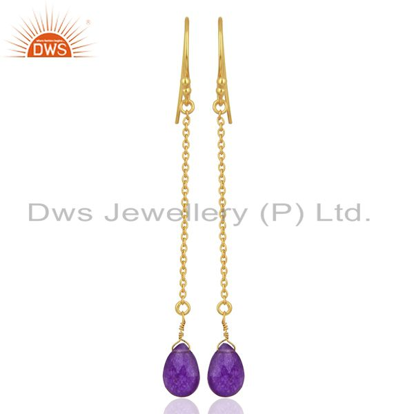 Gold Plated Aventurine Gemstone 925 Sterling Silver Chain Earrings