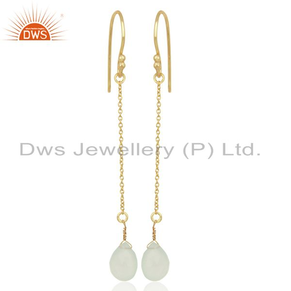 Aqua Chalcedony Simple Chain Gold Plated Wholesale Earring Jewelry