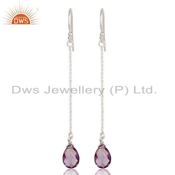 Handmade Solid 925 Sterling Silver Amethyst Briolette Chain Dangle Earrings