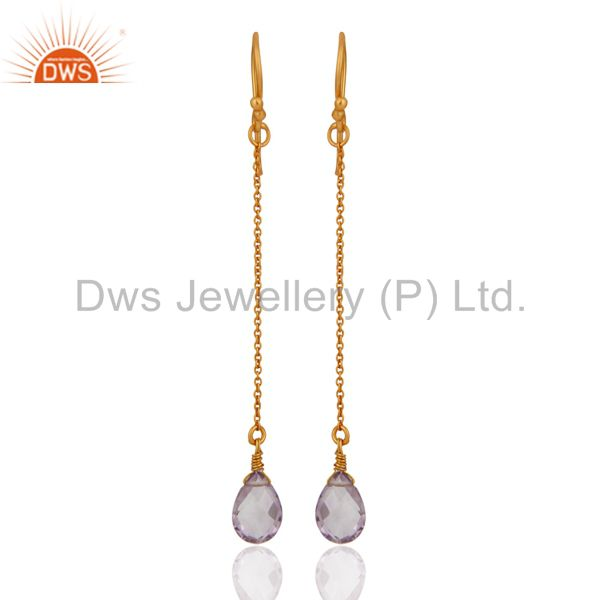 18K Yellow Gold Plated Sterling Silver Amethyst Briolette Gemstone Chain Earring