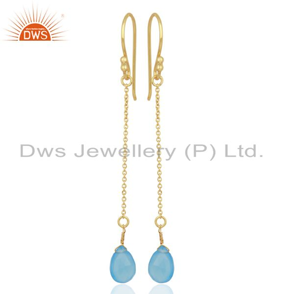 Blue Chalcedony Simple Chain Gold Plated Wholesale Earring Jewelry