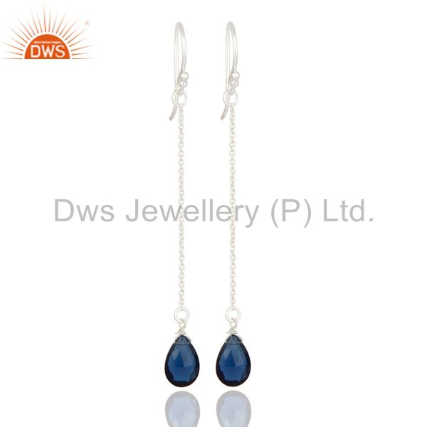 925 Sterling Silver Blue Corundum Faceted Briolette Dangle Drop Earrings