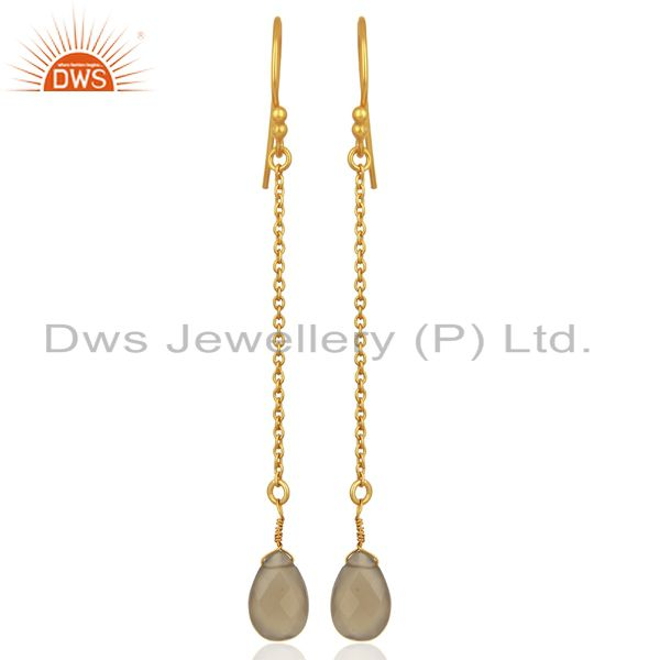 Gray Chalcedony Gemstone Gold Plated Silver Earrings Manufacturer