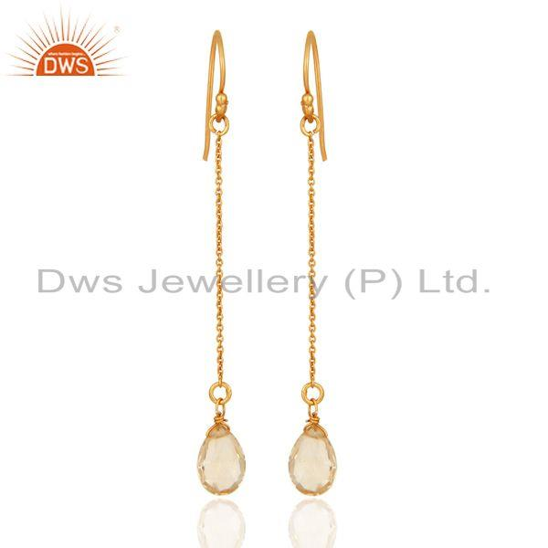 18K Yellow Gold Plated Sterling Silver Natural Citrine Briolette Chain Earrings