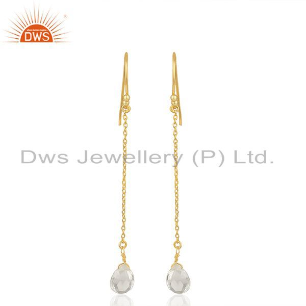 Crystal Quartz 92.5 Sterling Silver Gold Plated Chain Earring Supplier