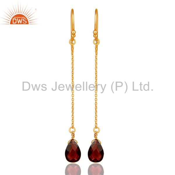 18K Gold Plated Sterling Silver Garnet Gemstone Briolettes Chain Dangle Earrings