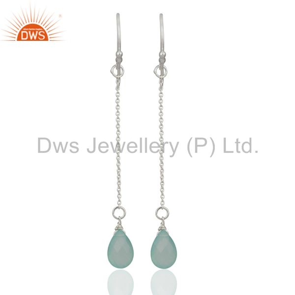 Solid 925 Sterling Silver Aqua Chalcedony Briolette Link Chain Dangle Earrings