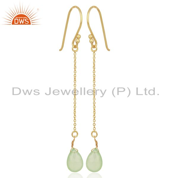 Prehnite Chalcedony Simple Chain Gold Plated Wholesale Earring Jewelry