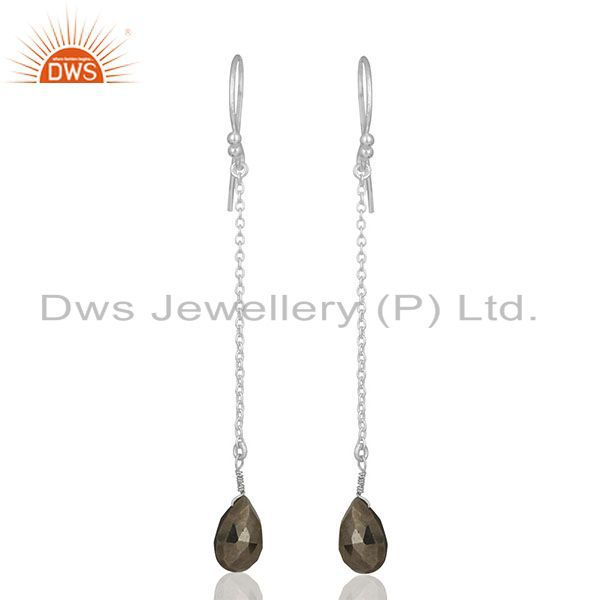 Hematite Gemstone 925 Silver Chain Earrings Jewelry Manufacturers