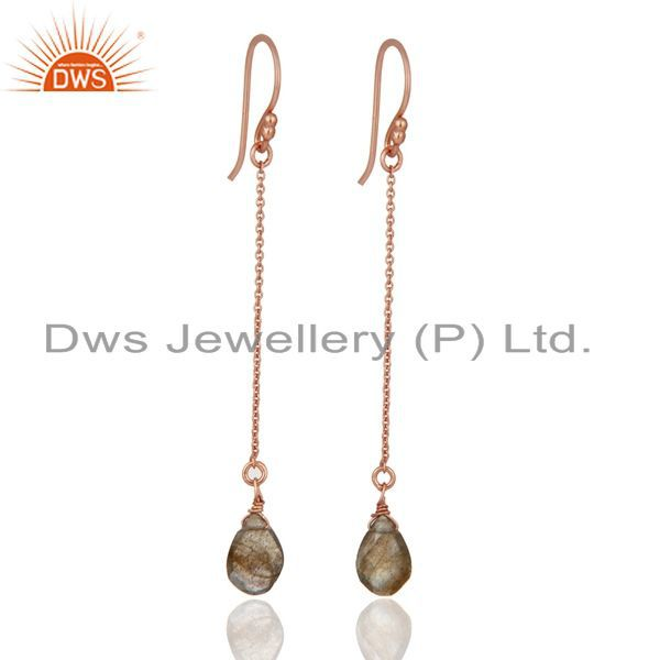 18K Rose Gold Plated Sterling Silver Faceted Labradorite Drop Long Chain Earring