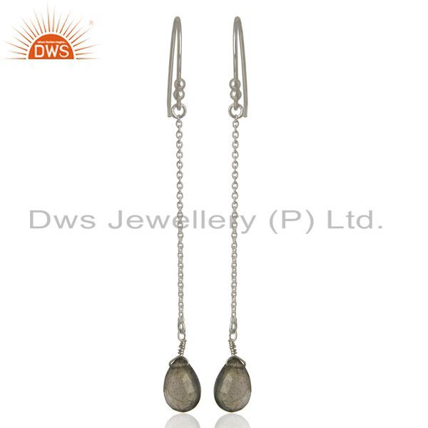 925 Sterling Silver Faceted Labradorite Gemstone Link Chain Dangle Earrings