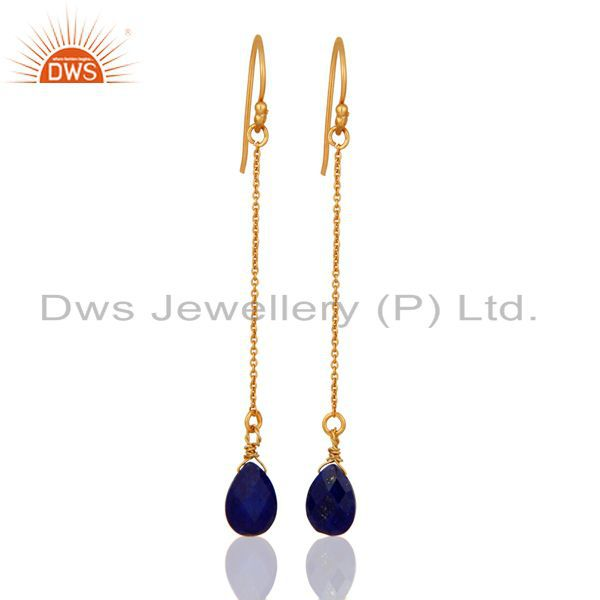 18K Yellow Gold Plated Sterling Silver Lapis Lazuli Briolette Chain Earrings