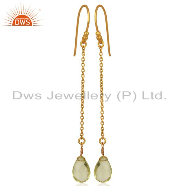 18K Yellow Gold Plated Sterling Silver Lemon Topaz Link Chain Drop Earrings