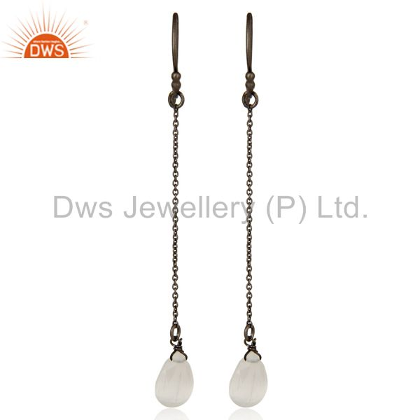 Black Rhodium Plated Sterling Silver White Moonstone Briolette Dangler Earrings