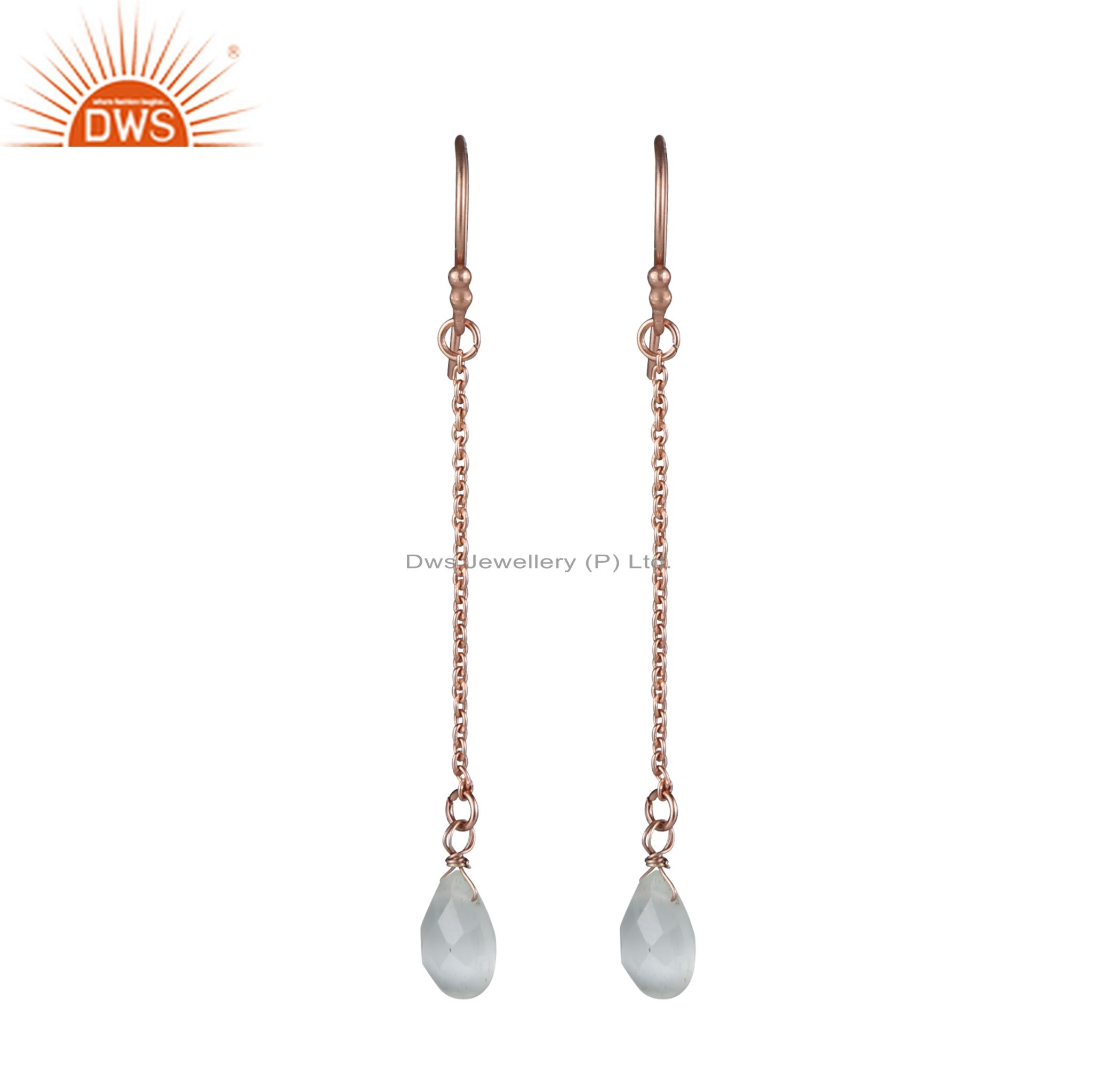 18K Rose Gold Plated Sterling Silver White Moonstone Chain Drop Earrings