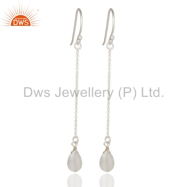 Solid Sterling Silver White Moonstone Chain Drop Earrings
