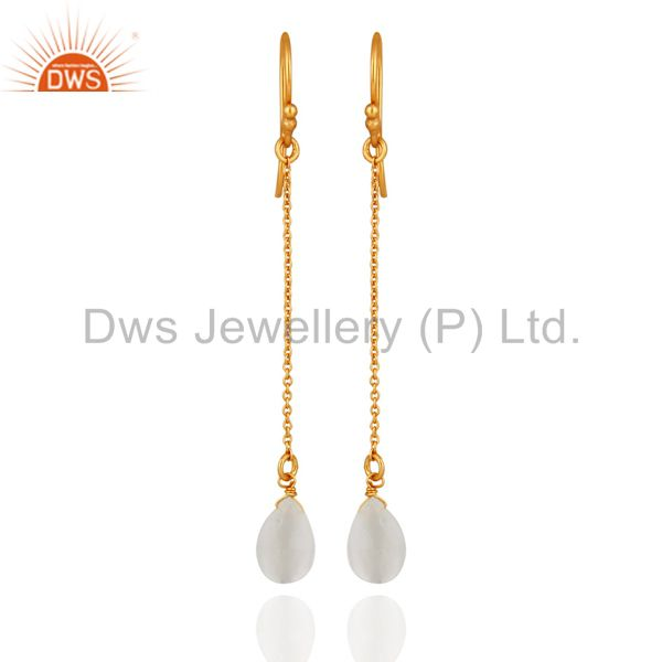 18K Yellow Gold Plated Sterling Silver White Moonstone Briolette Drop Earrings