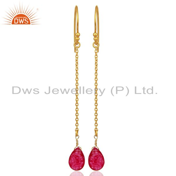 Red Aventurine Gemstone Gold Plated 925 Silver Womens Earrings