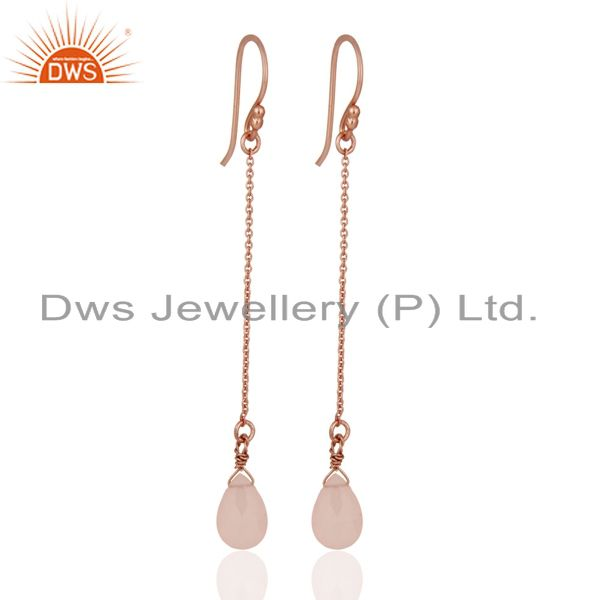 18K Rose Gold Plated Sterling Silver Rose Chalcedony Link Chain Dangle Earrings