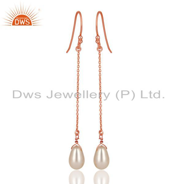 14K Rose Gold Plated 925 Sterling Silver Pearl Link Chain Dangle Earrings