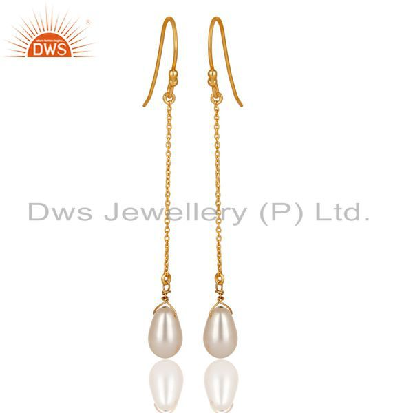 14K Yellow Gold Plated 925 Sterling Silver Pearl Link Chain Dangle Earrings
