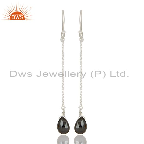 Solid 925 Sterling Silver Handmade Hematite Link Chain Dangle Earrings Jewelry