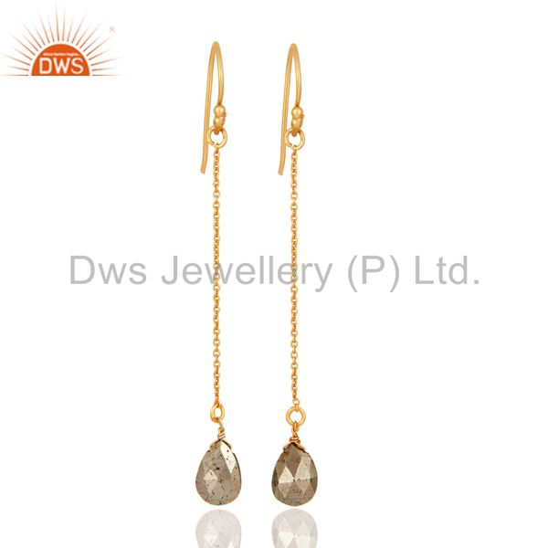 18K Yellow Gold Plated Sterling Silver Pyrite Teardrop Link Chain Dangle Earring