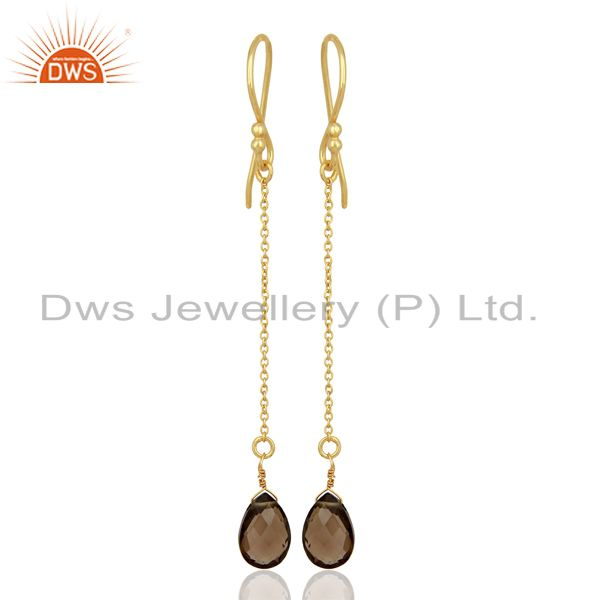 Smoky Topaz Simple Chain Gold Plated Wholesale Earring Jewelry