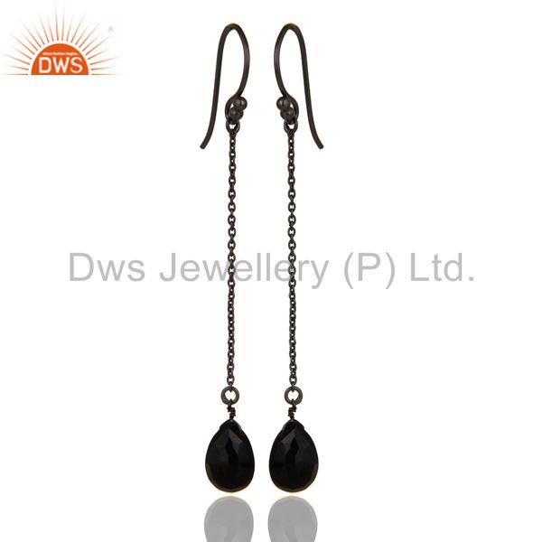 Oxidized Sterling Silver Black Onyx Briolette Chain Dangle Earrings