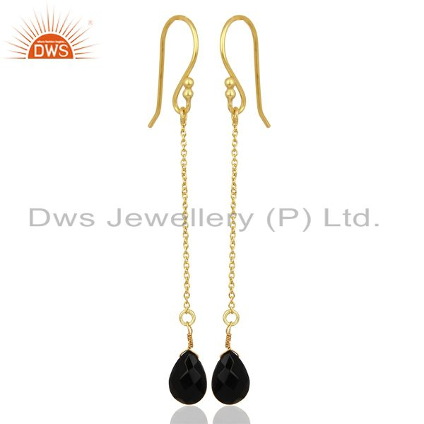 Black Onyx Simple Chain Gold Plated Wholesale Earring Jewelry