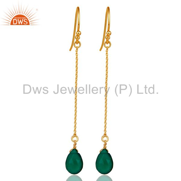 18k Gold Plated 925 Silver Faceted Green Onyx Gemstone Drop Link Chain Earrings