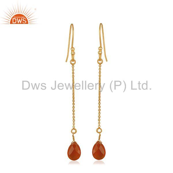 Red Onyx Gemstone Handmade 925 Silver Chain Gold Plated Earrings