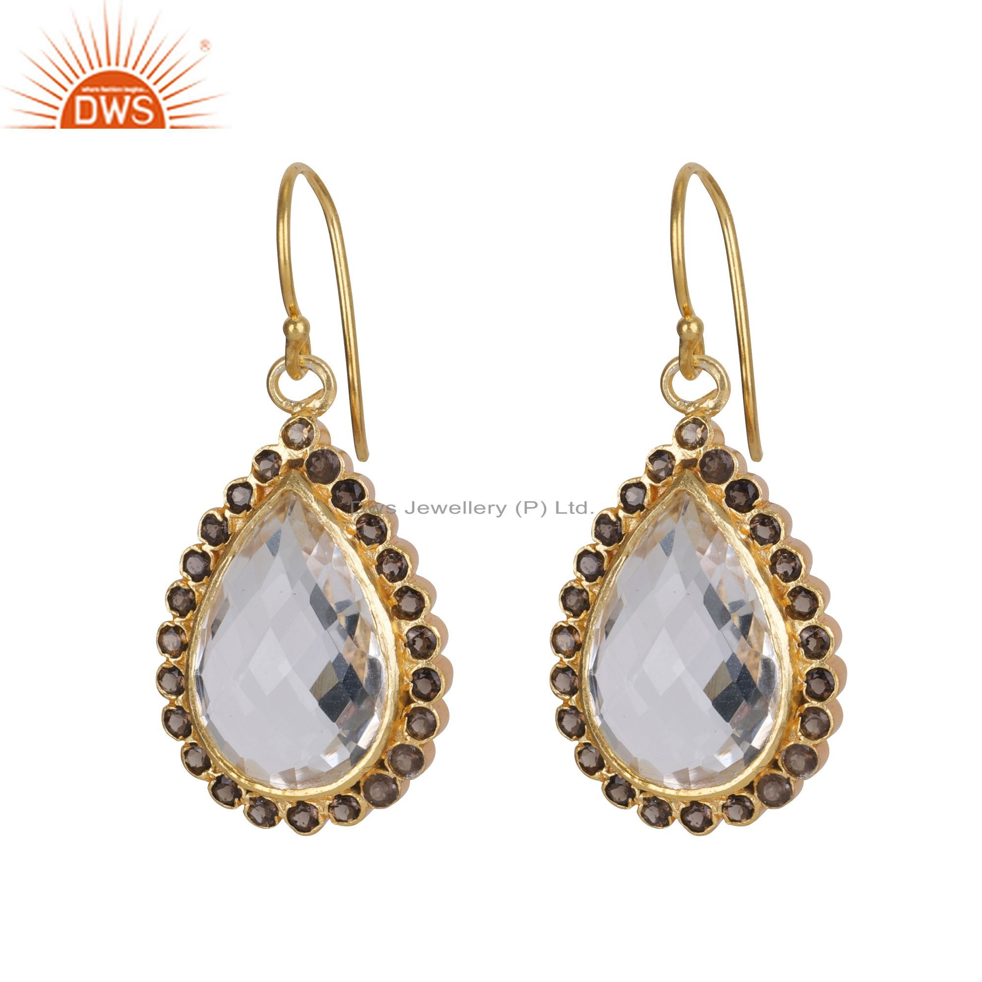 18K Gold Plated Sterling Silver Crystal Quartz And Smoky Quartz Drop Earrings
