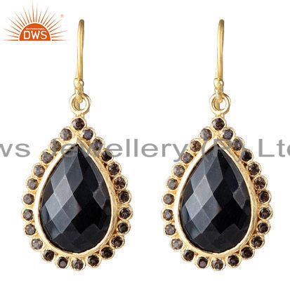 18K Yellow Gold Plated Sterling Silver Black Onyx And Smoky Quartz Drop Earrings